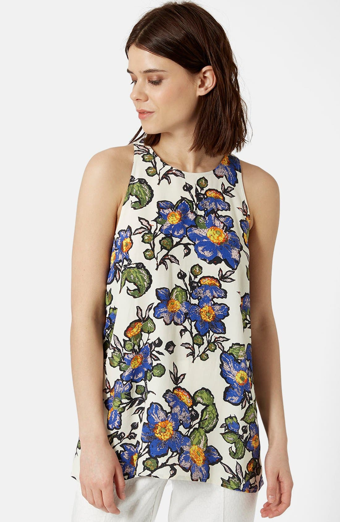 Main Image - Topshop Graphic Floral Tank