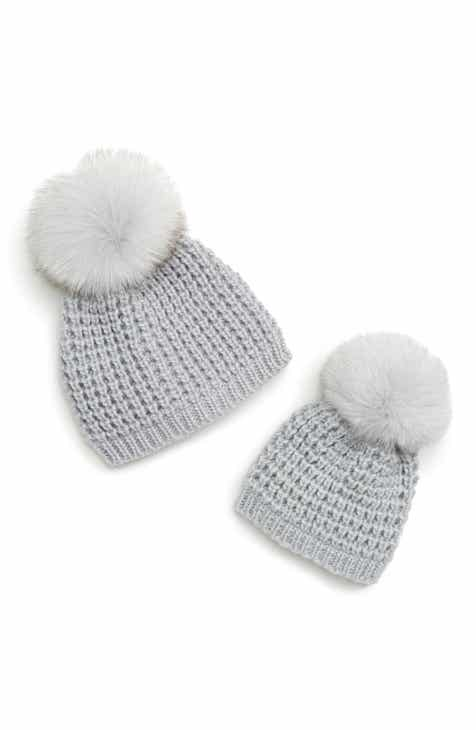 dd5dc0037b1 Kyi Kyi Mom   Me Knit Hats with Genuine Fox Fur Poms Set