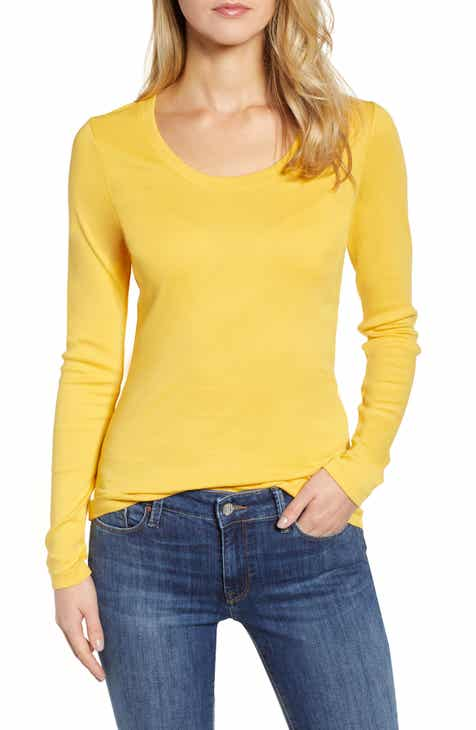 f4a52dfe205dc Caslon®  Melody  Long Sleeve Scoop Neck Tee (Regular   Petite)
