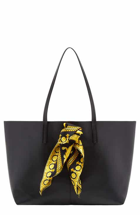 afac9f536549 Versace Tribute Baroque Scarf Leather Tote