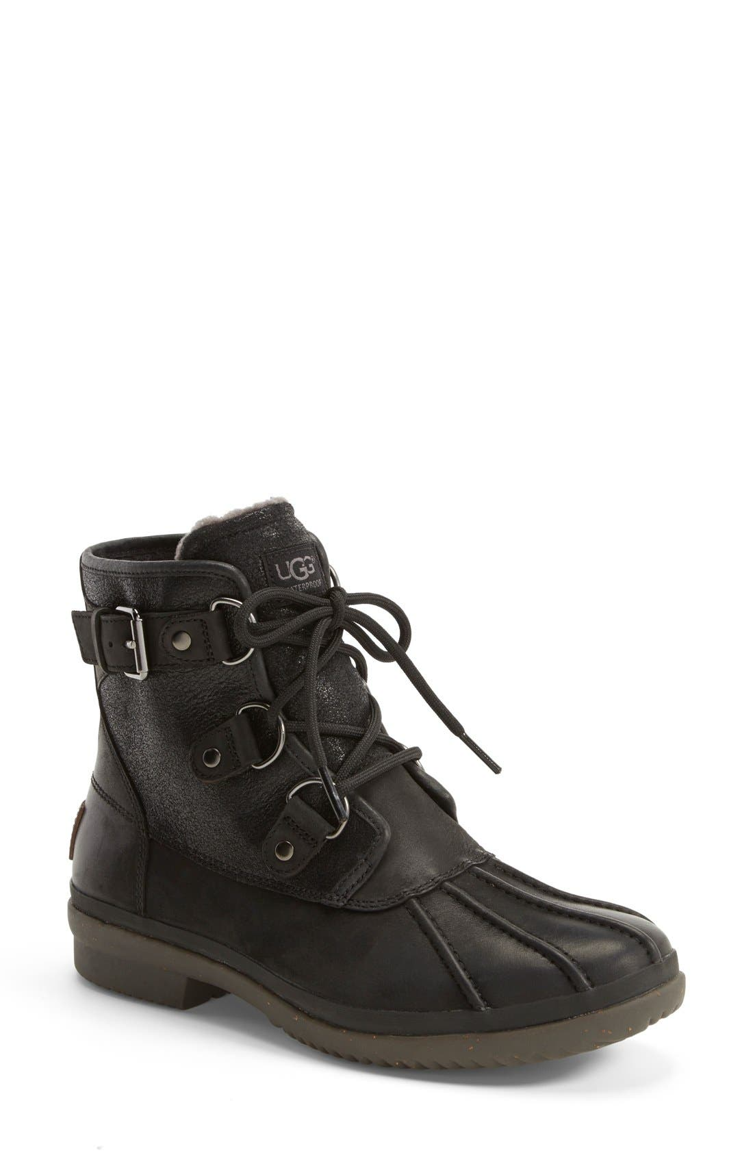Cecile Waterproof Boot,                             Main thumbnail 1, color,                             Black Leather