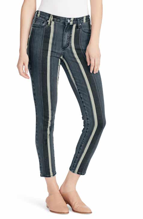 Joe's Honey Stripe Curvy High Waist Ankle Skinny Jeans (Eleanor) by JOES