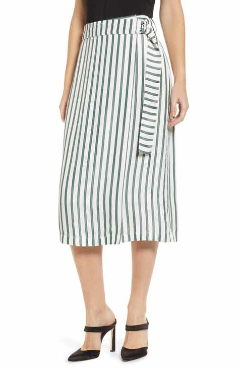 Chelsea28 Stripe Wrap Skirt by CHELSEA28