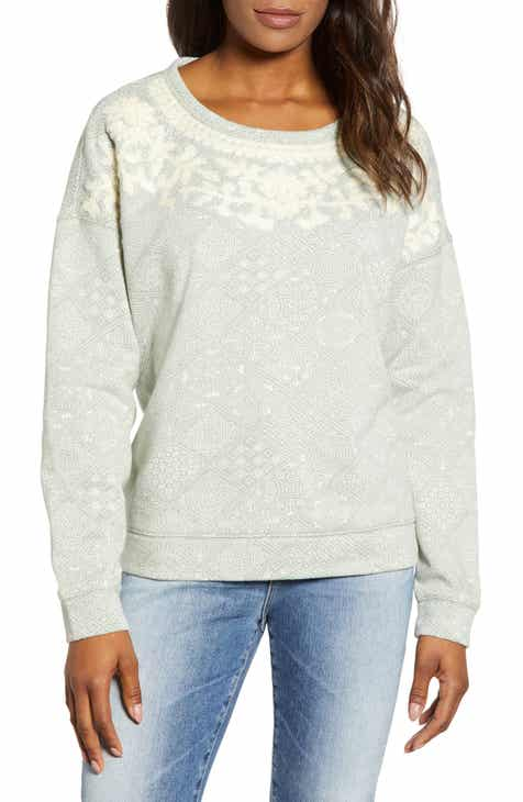 081d900e42f Lucky Brand Chenille Embroidery Tile Print Cotton Sweatshirt
