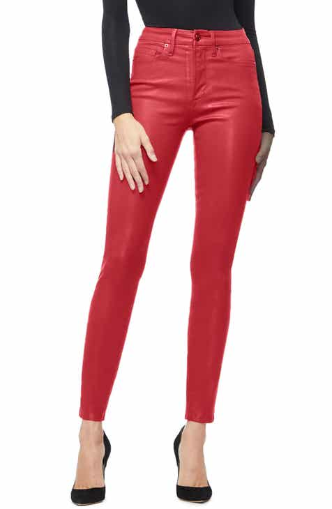 1ce8a444581 Good American Good Waist Coated High Waist Skinny Jeans (Red 001) (Regular    Plus Size)