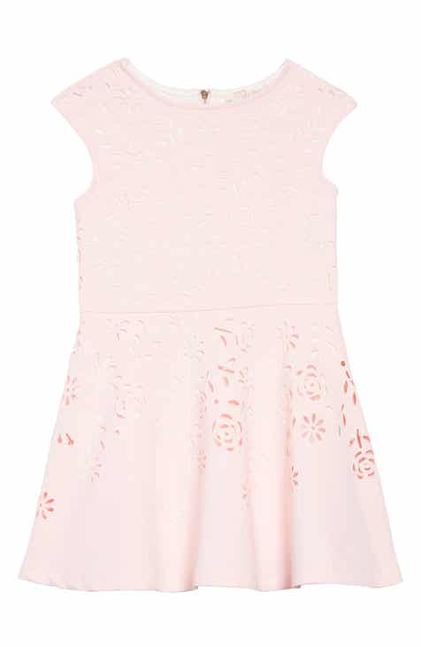 Truly Me Laser Cut Floral Fit & Flare Dress (Toddler Girls & Little Girls)