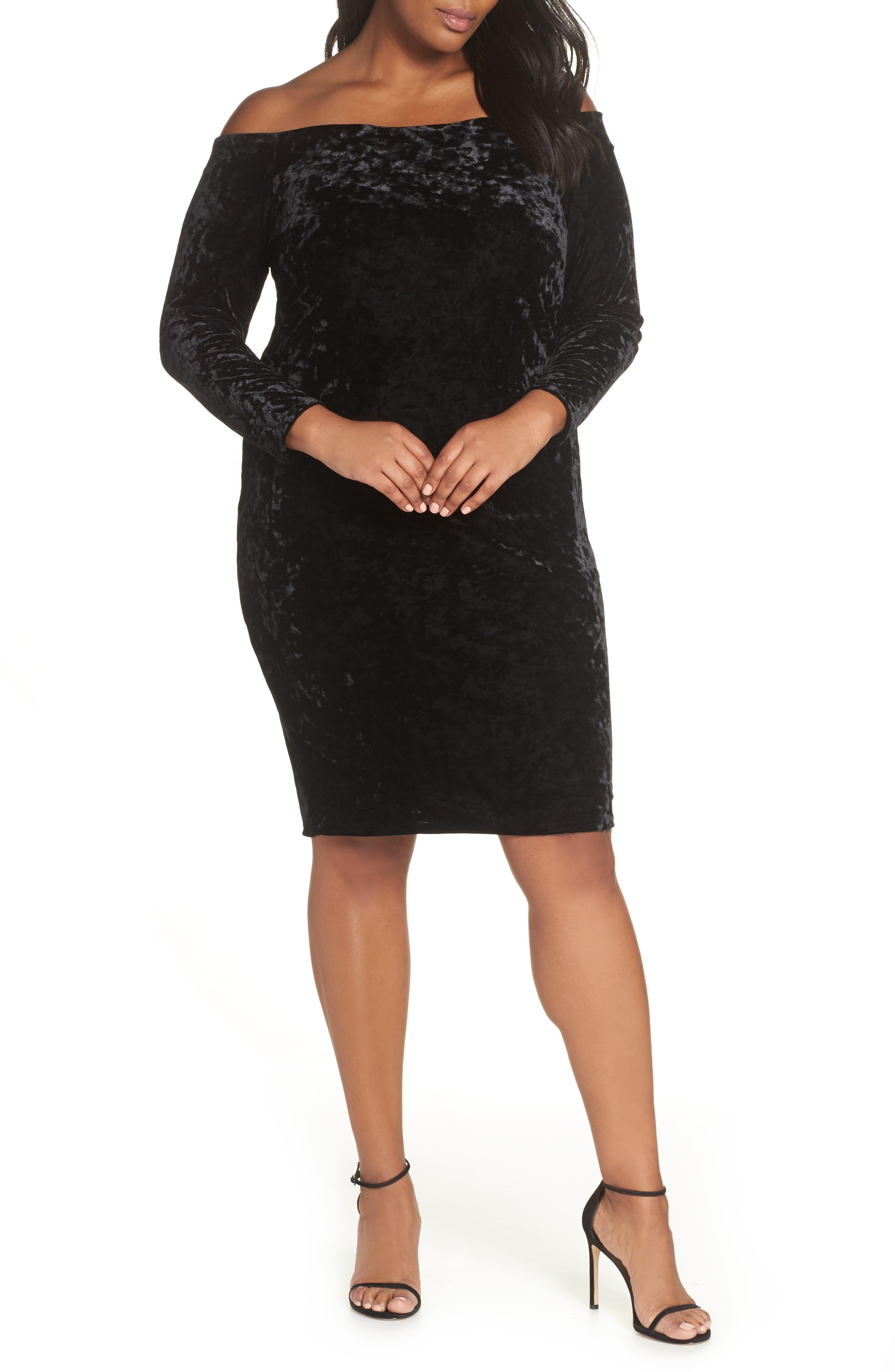 Glittering Black Plus Size Dresses Cocktail Party
