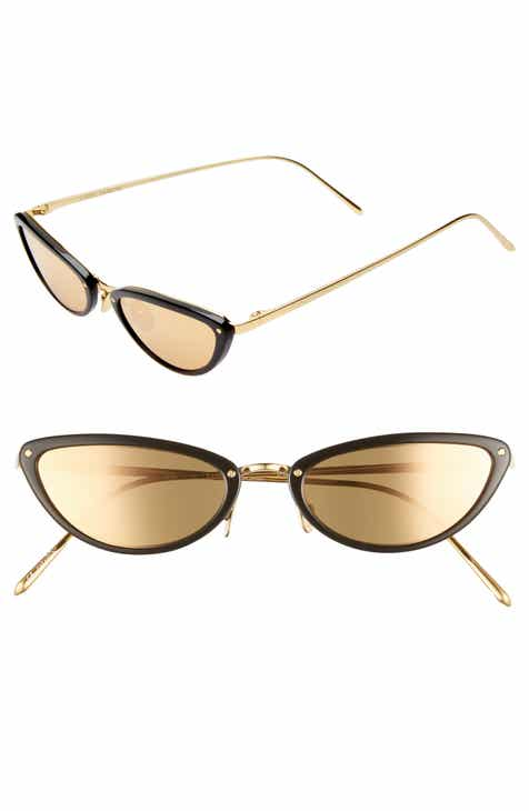 971748bc2328 Linda Farrow 50mm Cat Eye Gold Trim Sunglasses