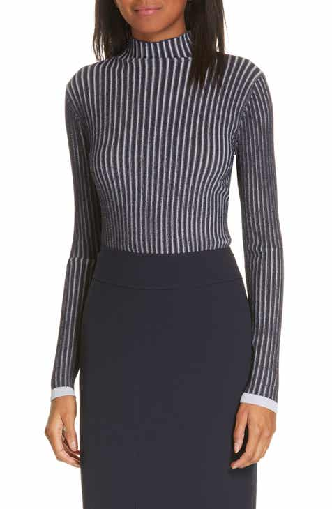 Lewit Stripe Ribbed Mock Neck Sweater by LEWIT