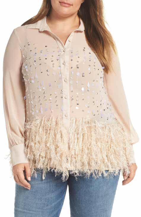 c0ec09525f0 LOST INK Embellished Feather Trim Shirt (Plus Size)