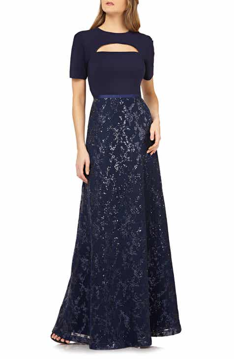 Kay Unger Cutout Sequin Evening Gown