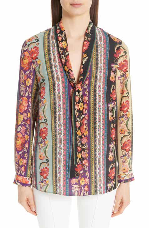 5bfe5b443bb Etro Rocking Bloom Print Silk Blouse