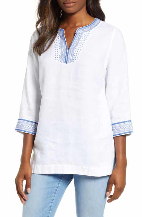 534487298b621 Tommy Bahama Palmbray Embroidered Linen Tunic Top