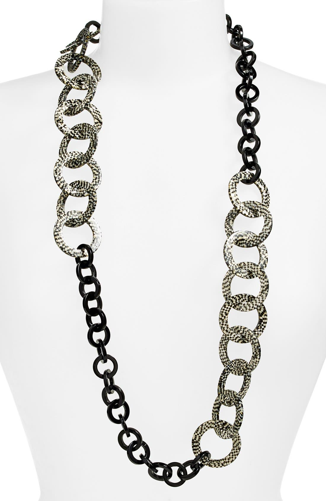 'Madison' Link Station Necklace,                             Main thumbnail 1, color,                             Opera Silver/ Black