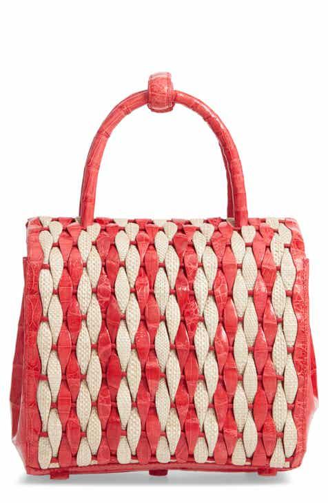 Nancy Gonzalez Genuine Crocodile Canvas Weave Basket Bag