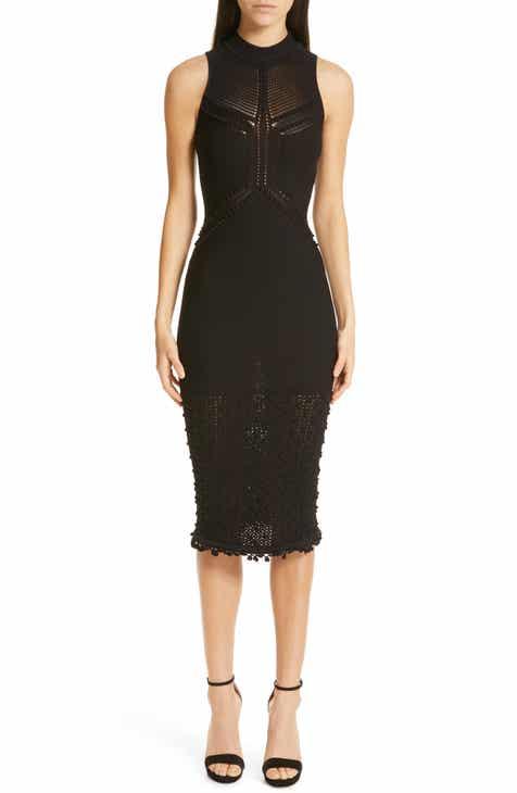 CUSHNIE Open Knit Sleeveless Dress