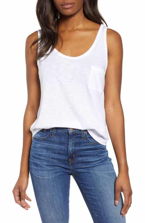 Summerland Scooped Neck Pocket Tank Top (Regular   Petite) (Nordstrom  Exclusive) 34f5d648f