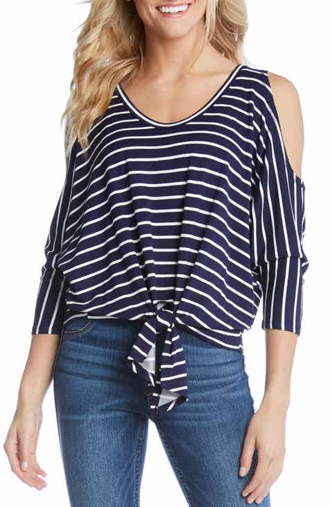 75ddd2e0de Karen Kane Stripe Cold Shoulder Tie Front Top