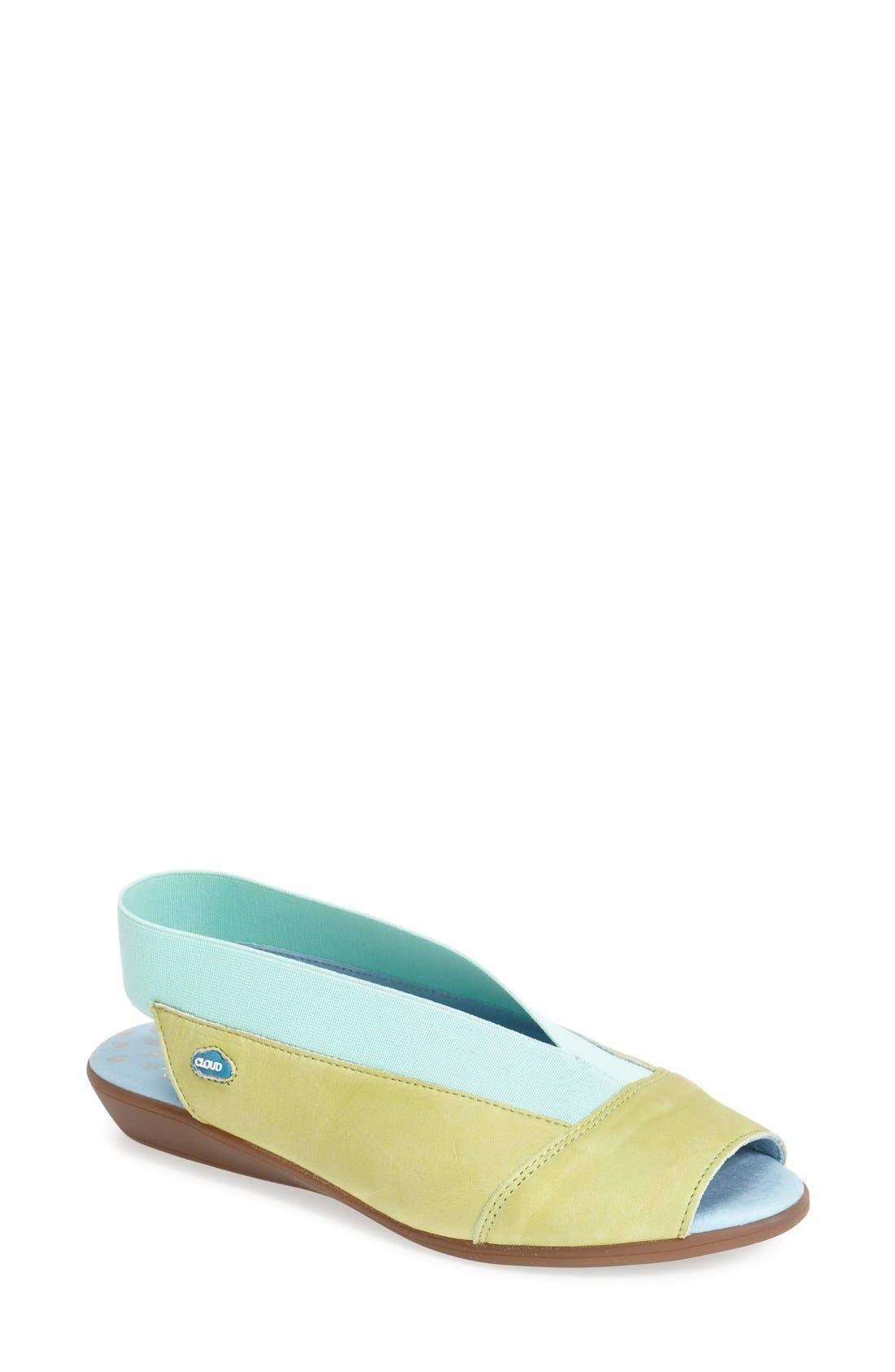 Main Image - CLOUD 'Caliber' Peep Toe Leather Flat (Women)