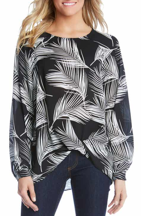 Karen Kane Palm Print Twist Hem Blouse