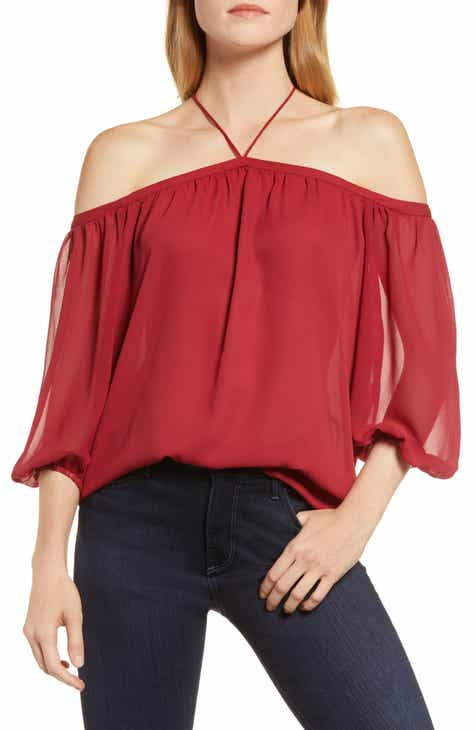 4520a0eee9cd1 STATE Off the Shoulder Sheer Chiffon Blouse