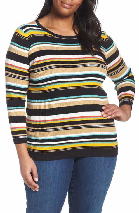 7c8ca3a7e0 Vince Camuto Stripe Ribbed Sweater (Plus Size)