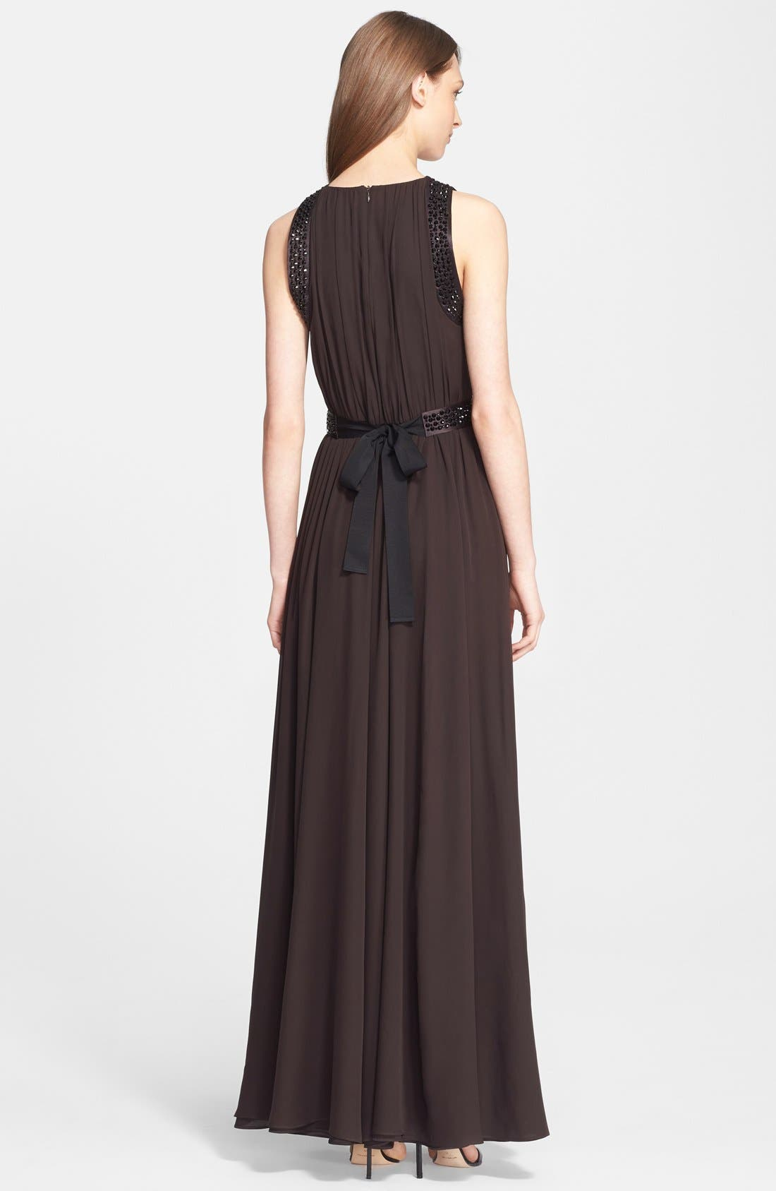 Alternate Image 3  - St. John Collection Belted Embellished Silk Georgette Gown