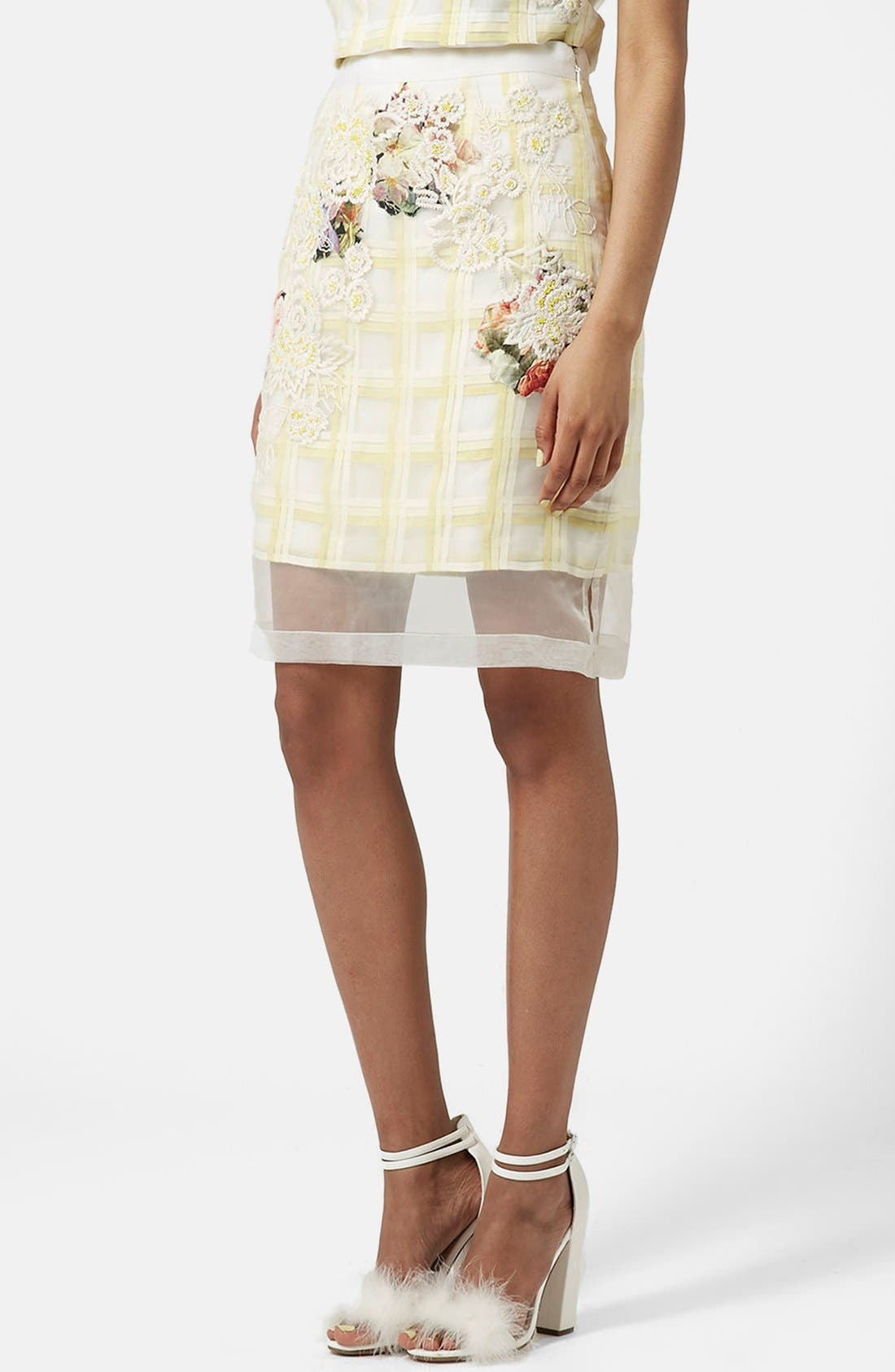 Main Image - Topshop Flower Check A-Line Skirt (Limited Edition)