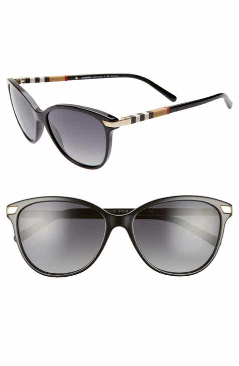 95fce8a9dca4 Burberry Check 57mm Polarized Gradient Cat Eye Sunglasses