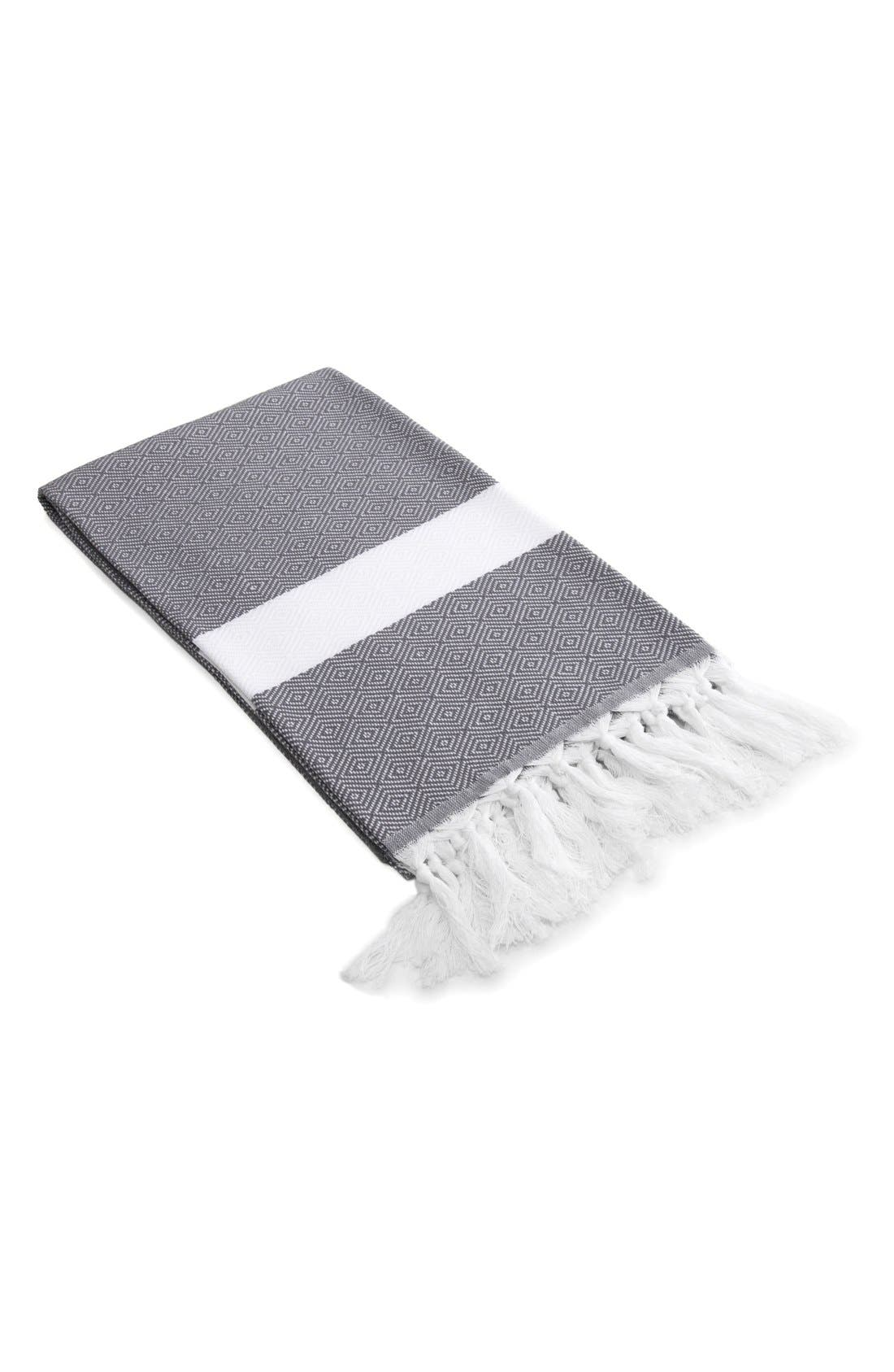 'Diamond' Turkish Pestemal Towel,                             Main thumbnail 1, color,                             Grey