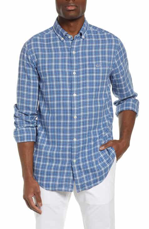 efe5e60d421 vineyard vines Tucker Slim Fit Check Cotton   Linen Sport Shirt