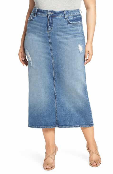1188952db0 SLINK Jeans Long Denim Skirt (Plus Size)