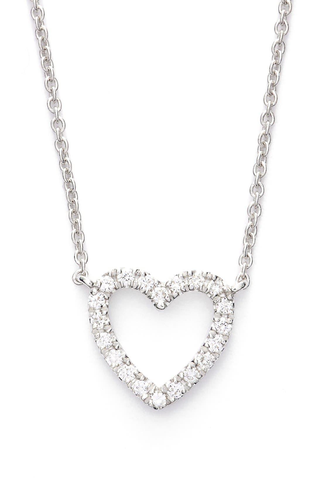 Diamond Heart Pendant Necklace,                         Main,                         color, White Gold