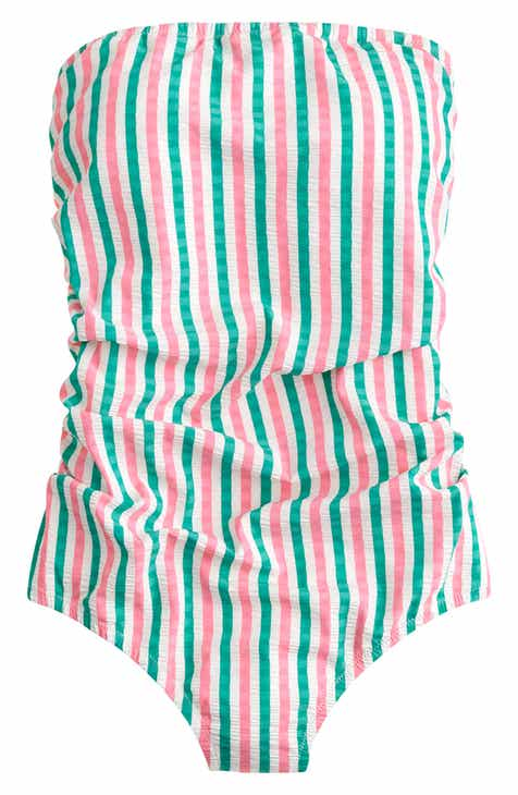 J.Crew Puckered Stripe Ruched Bandeau One-Piece Swimsuit by J.CREW