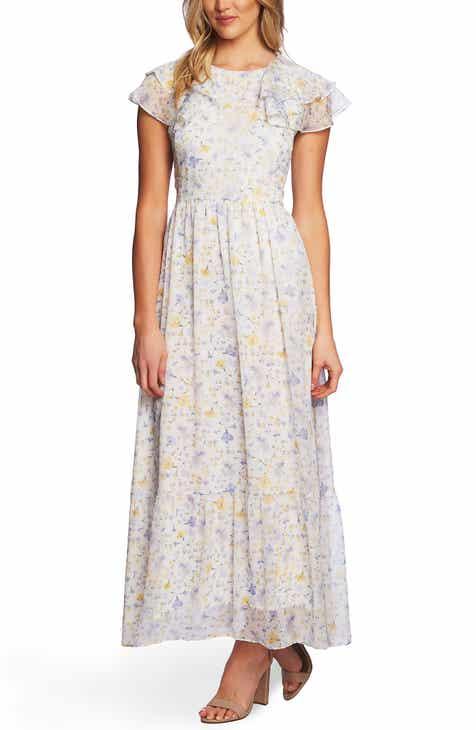 CeCe Provence Floral Ruffle Hem Maxi Dress 9d7118d86