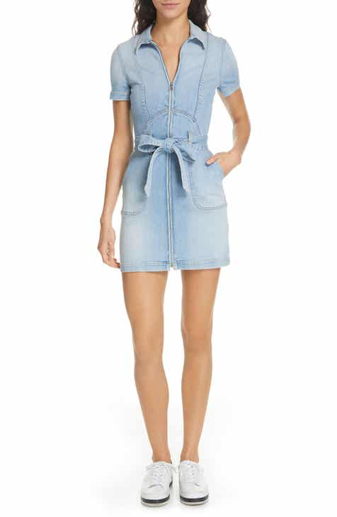 Alice + Olivia Jeans Gorgeous Tie Front Denim Minidress