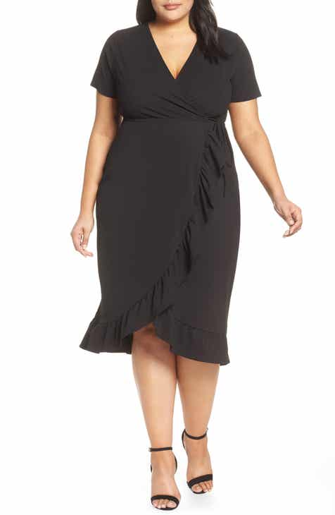 05284545e41 LOST INK Frilled Wrap Jersey Dress (Plus Size)