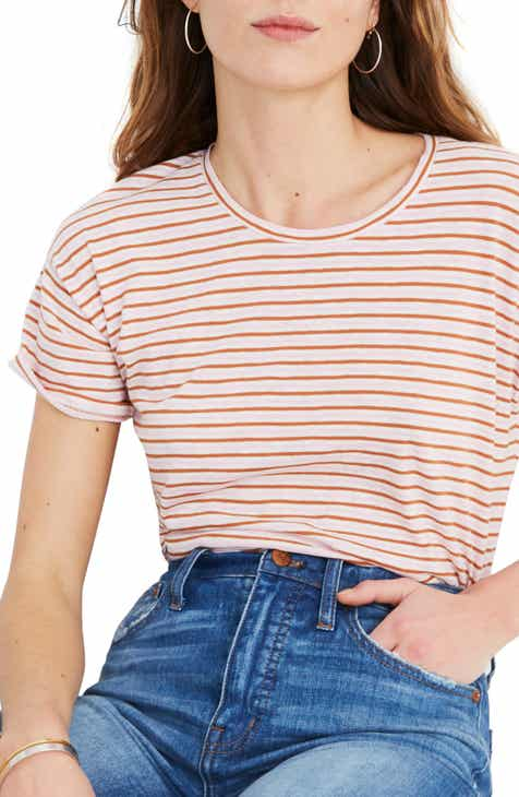cd85430f190c02 Madewell Whisper Cotton Stripe Crewneck Tee (Regular   Plus Size)