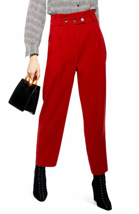0d5287f5a1a1b Topshop Emilie Paperbag Waist Tapered Trousers (Regular & Petite)