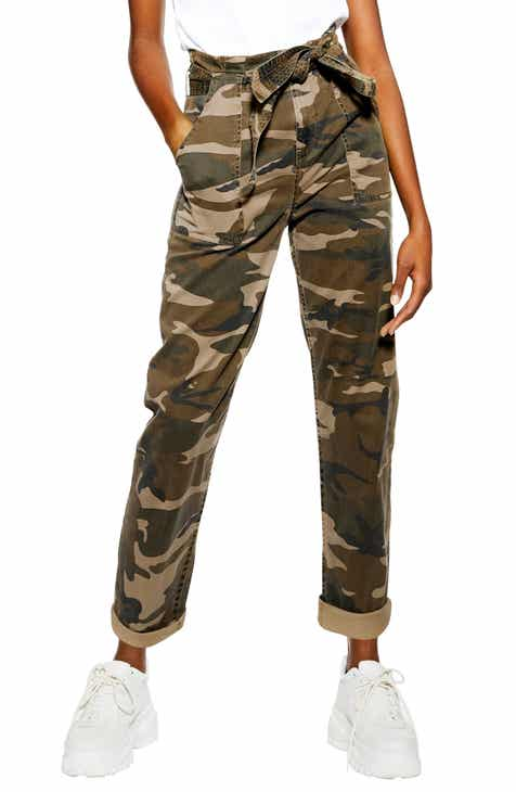 Topshop Camouflage Paperbag Waist Utility Trousers by TOPSHOP