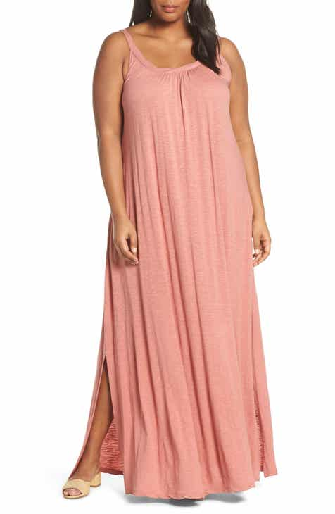 Caslon® Twist Neck Maxi Dress (Plus Size)