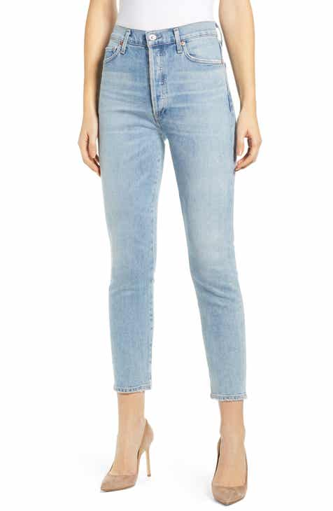 Levi's® 724™ Ripped High Waist Raw Edge Crop Jeans (Split Decision) by LEVIS