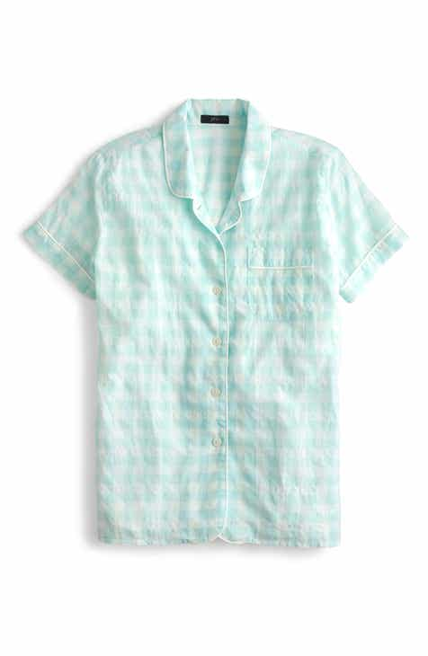 J.Crew Gingham Short Sleeve Pajama Top (Regular & Plus Size) by J.CREW