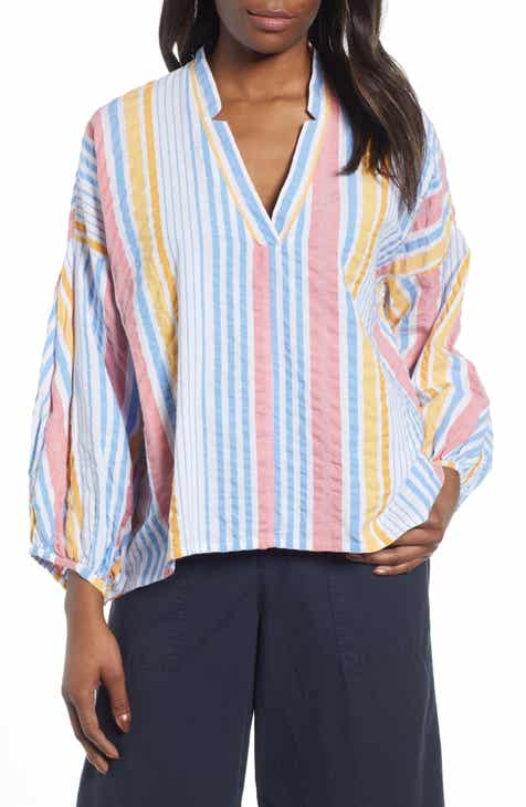 c9e2249d1a4d5 Lou   Grey Striped Seersucker Poet Blouse
