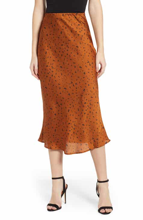 J.O.A. Animal Print Satin Midi Skirt by J.O.A.