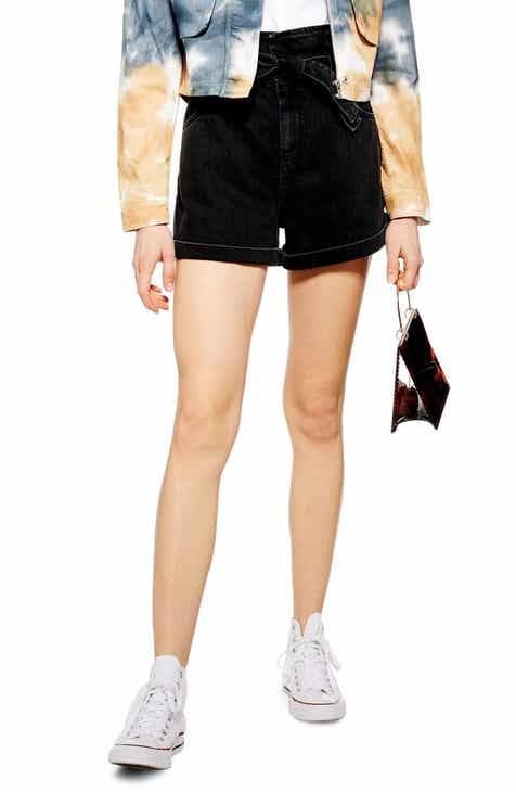 Tibi High Waist Stripe Twill Shorts by TIBI