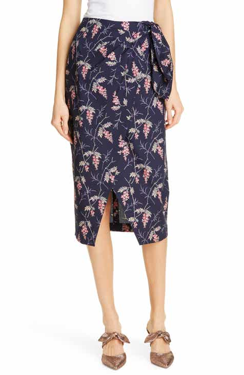 Rebecca Taylor Ivie Floral Wrap Style Cotton Midi Skirt by REBECCA TAYLOR