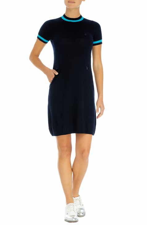 G/FORE Contrast Trim Mock Neck Wool Golf Dress by G/FORE