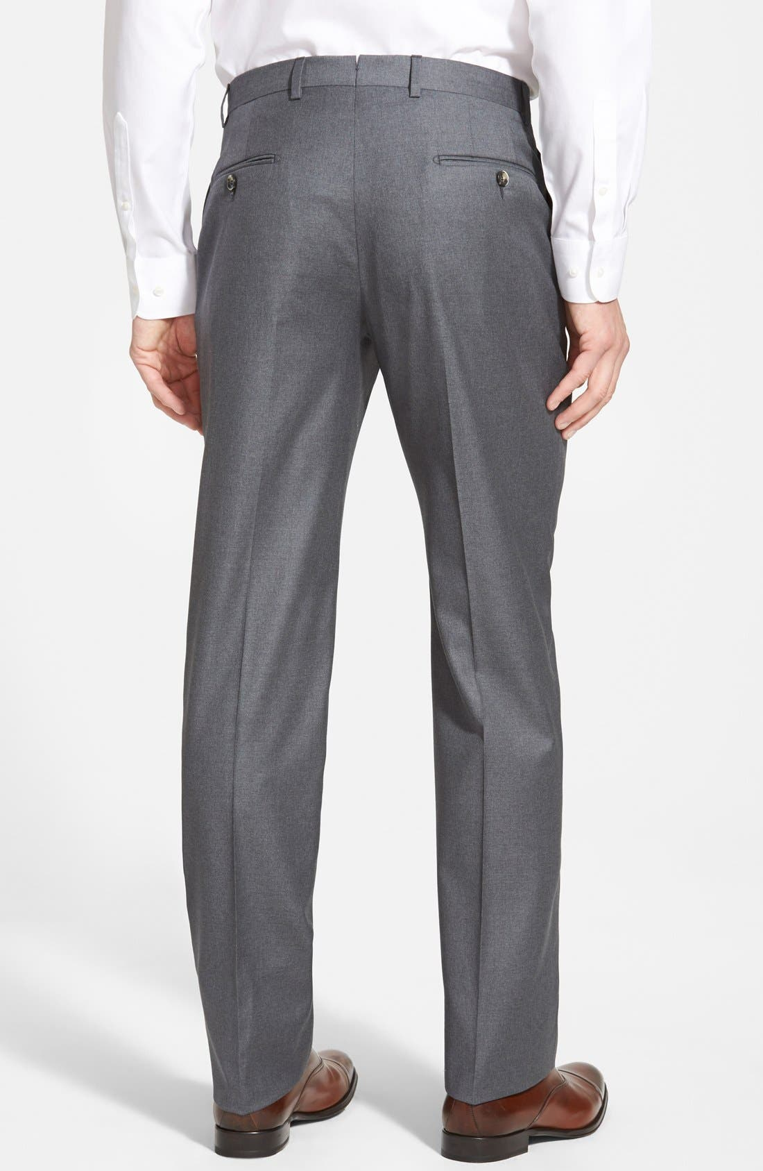 Classic B Fit Flat Front Wool Trousers,                             Alternate thumbnail 2, color,                             Grey