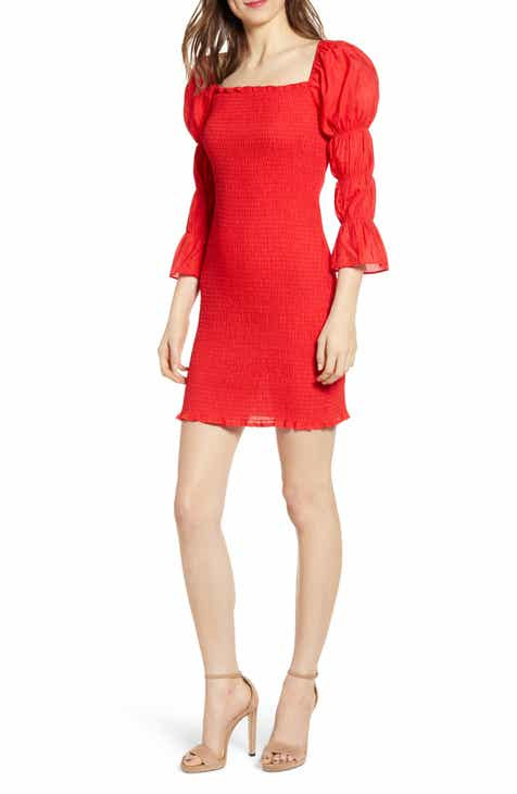 90d5d924b8d2d2 J.O.A. Smock Puff Sleeve Body-Con Minidress